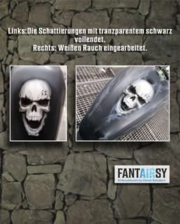 Schädel Skull Airbrush für Motorradtank